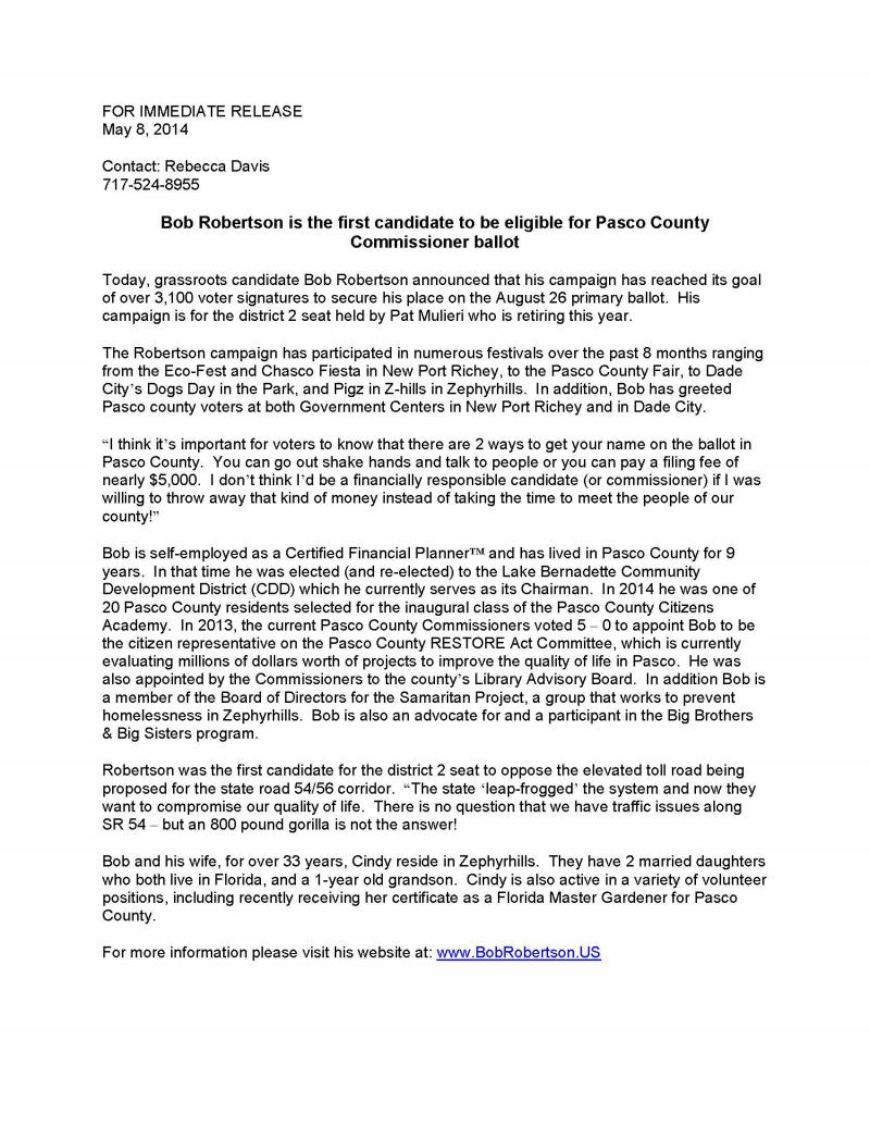 County Commissioner Press Release: May 2014